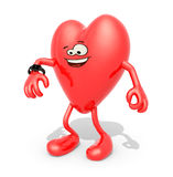 Heart with arms, legs and watch Royalty Free Stock Photo