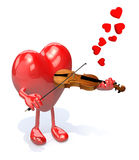 Heart with arms and legs who plays the violin Stock Image