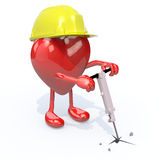 Heart with arms, legs, work helmet and jackhammer Royalty Free Stock Photos