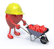 Heart with arms, legs and workhelmet carries a wheelbarrow heart Royalty Free Stock Images