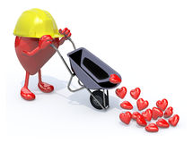 Heart with arms, legs and workhelmet carries a wheelbarrow heart Stock Photography