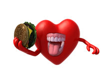 Heart with arms, open mouth and a hamburger on hand. 3d illustration Stock Images
