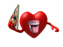 Heart with arms, open mouth and a slice of pizza Royalty Free Stock Photos