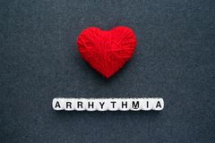 Heart arrhythmia, cardiac dysrhythmia or irregular heartbeat. Ar. Rhythmia symptoms and types: extra beats, supraventricular tachycardias, ventricular royalty free stock photo