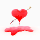 Heart&Arrow. Pierced by an arrow with a heart dripping blood on a white background Stock Image