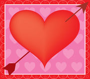 Heart and Arrow. Big red heart with arrow on a pink background Royalty Free Stock Photos