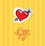 Heart with an arrow. On a striped background to Valentine's Day Royalty Free Stock Image