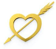 Heart with arrow. Golden heart and arrow sign on white background Stock Photo