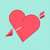 Heart and Arrow. Abstract holiday background Stock Photo