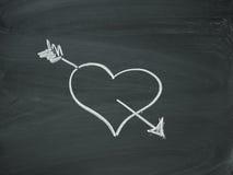 Heart Arrow blackboard chalk. Heart arrow heart arrow blackboard chalk Royalty Free Stock Photos