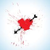 Heart and arrow blots Stock Photos