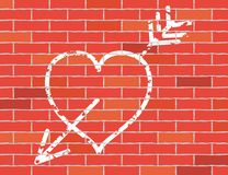 Heart and arrow on brick wall. Cretaceous Image of heart on brick wall. Vector illustration Royalty Free Stock Photography