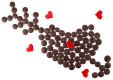 Heart with arrow of chocolate Royalty Free Stock Photos