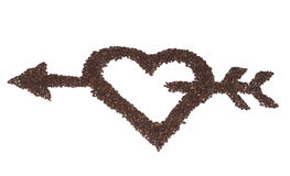Heart with arrow from coffee beans. Isolated object Royalty Free Stock Photography
