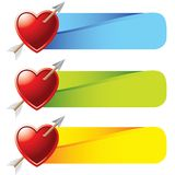 Heart with arrow on colored tabs Stock Photo