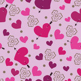 Heart an arrow and flowers. Seamless pattern  Royalty Free Stock Photo