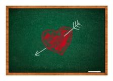 Heart and arrow on green chalkboard Stock Photos