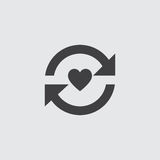 Heart with arrow icon in a flat design in black color. Vector illustration eps10 Stock Photos