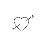 Heart with arrow line icon, Love sign Valentines Stock Photos