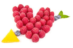 Heart and arrow made from fruits Stock Photography
