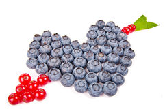 Heart and arrow made from fruits Royalty Free Stock Images