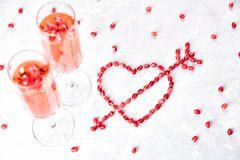 Two glasses of pink champagne. royalty free stock photos
