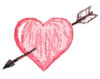 Heart with an arrow (mosaic). The figure of heart with an arrow stylized under a mosaic Stock Images