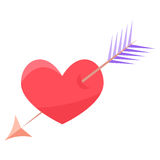 Heart and arrow Royalty Free Stock Images