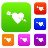 Heart with arrow set color collection Royalty Free Stock Photos