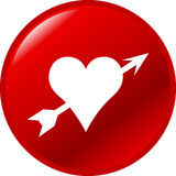 heart with arrow vector button Royalty Free Stock Photography
