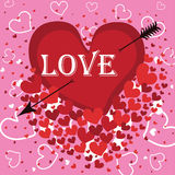 Heart with an arrow and the word love. Vector Royalty Free Stock Photo