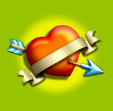 Heart/arrow1. 3-d heart shot by an arrow w/gold banner stock illustration