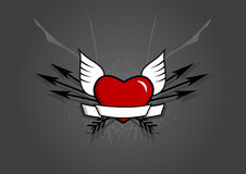 Heart with arrows on grey background. Vector art Royalty Free Stock Image