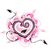 Heart with arrows of love. Pink heart with arrows of love looking for pair Stock Image