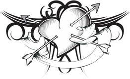 Heart arrows tattoo tshirt ribbon Stock Photo