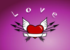 Heart with arrows and wings. Stock Images