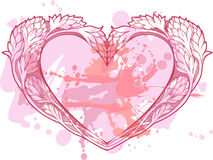 Heart in art nouveau style with blots of paint. Image of heart in art nouveau style with blots of paint vector illustration