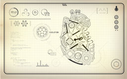 Heart. Artificial heart, robot heart, technological blueprint, abstract technology Royalty Free Stock Images