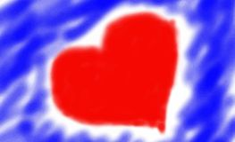 Heart on artistic background in blue Royalty Free Stock Photos