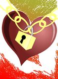 Stylized heart with padlock. Artistic illustration representing a heart, symbol of love and a padlock, symbol of unity, indicating that love unites the lovers Stock Photo