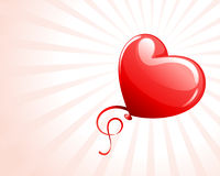Heart as air balloon with ribbon Stock Photo