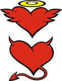 Heart as angel and devil Stock Photography