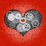 Heart as a mechanism made of cogs and gears. Vector Illustration  of steampunk heart. Valentines day card with sign on Stock Photo