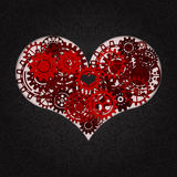 Heart as a mechanism made of cogs and gears. Vector Illustration  of steampunk heart. Valentines day card  Royalty Free Stock Photo