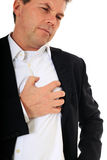 Heart attack. Middle-aged man suffers from heart attack. All on white background Royalty Free Stock Image