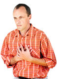 Heart attack. Man have a heart attack, isolated on white background Stock Image