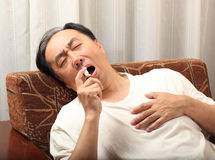 Heart attack. Man with a heart attack Stock Photos