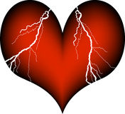 Heart attack. Red plastic heart with signs of a heart attack Royalty Free Stock Photo