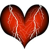 Heart attack. Heart with the drastic signs of a heart attack Royalty Free Stock Photography
