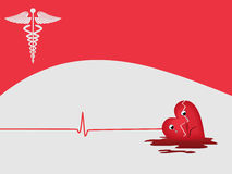 Heart attack background with medical symbol Stock Photos